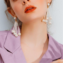 Women's Vintage Pearl Pendant Tassel Earrings