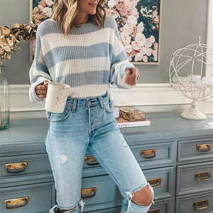 Casual Striped Long Sleeve Ladies Sweater