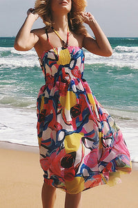 Sexy Strapless Collar Sleeveless Printed Expansion Vacation Dress