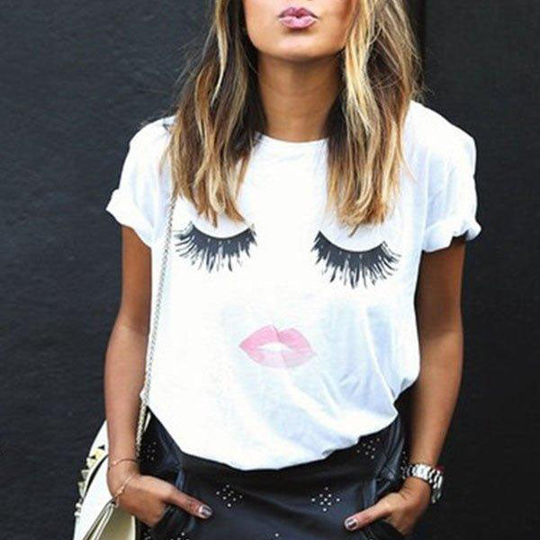 Round Neck Lips Printed Short Sleeve T-Shirts