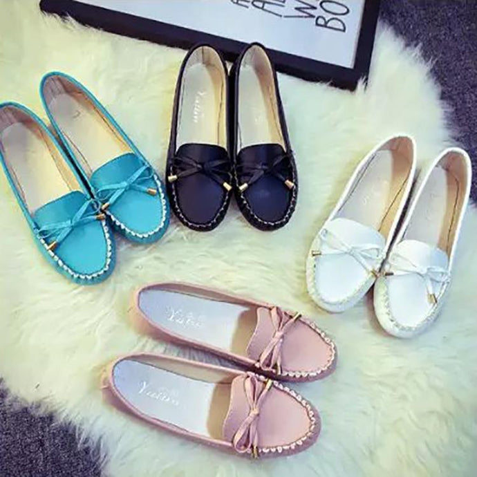 Casual Bow-Knot Pure Color Flat Shoes