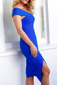 Sexy Off Shoulder Pure Color Bodycon Dress