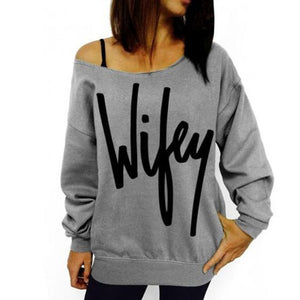 Boat Neck Letter Printed Long Sleeve T-Shirt