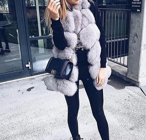 Fashion Casual Artificial Fur Fluffy Plain Waistcoat