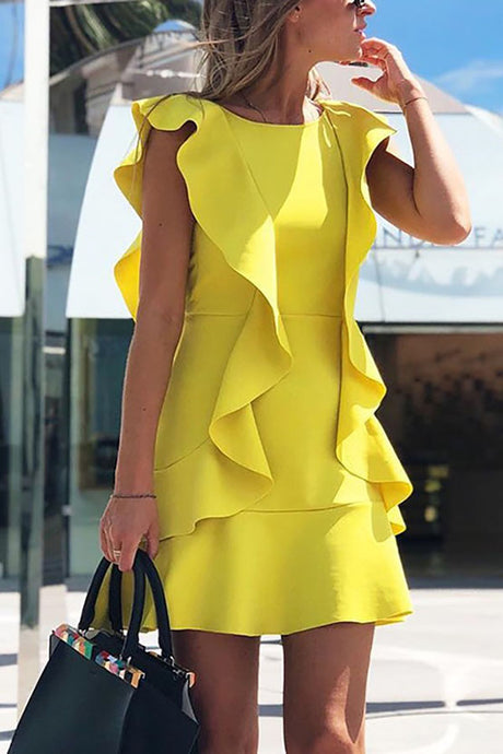 Ruffle Design Solid Backless Bodycon Dress Mini Dress