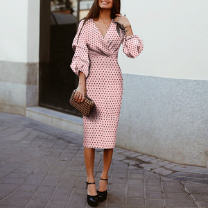 Wave Point V Collar Elegant Long Sleeve Bodycon Dress