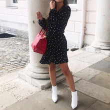 Sexy V Neck Dot Wrap Mini Dress