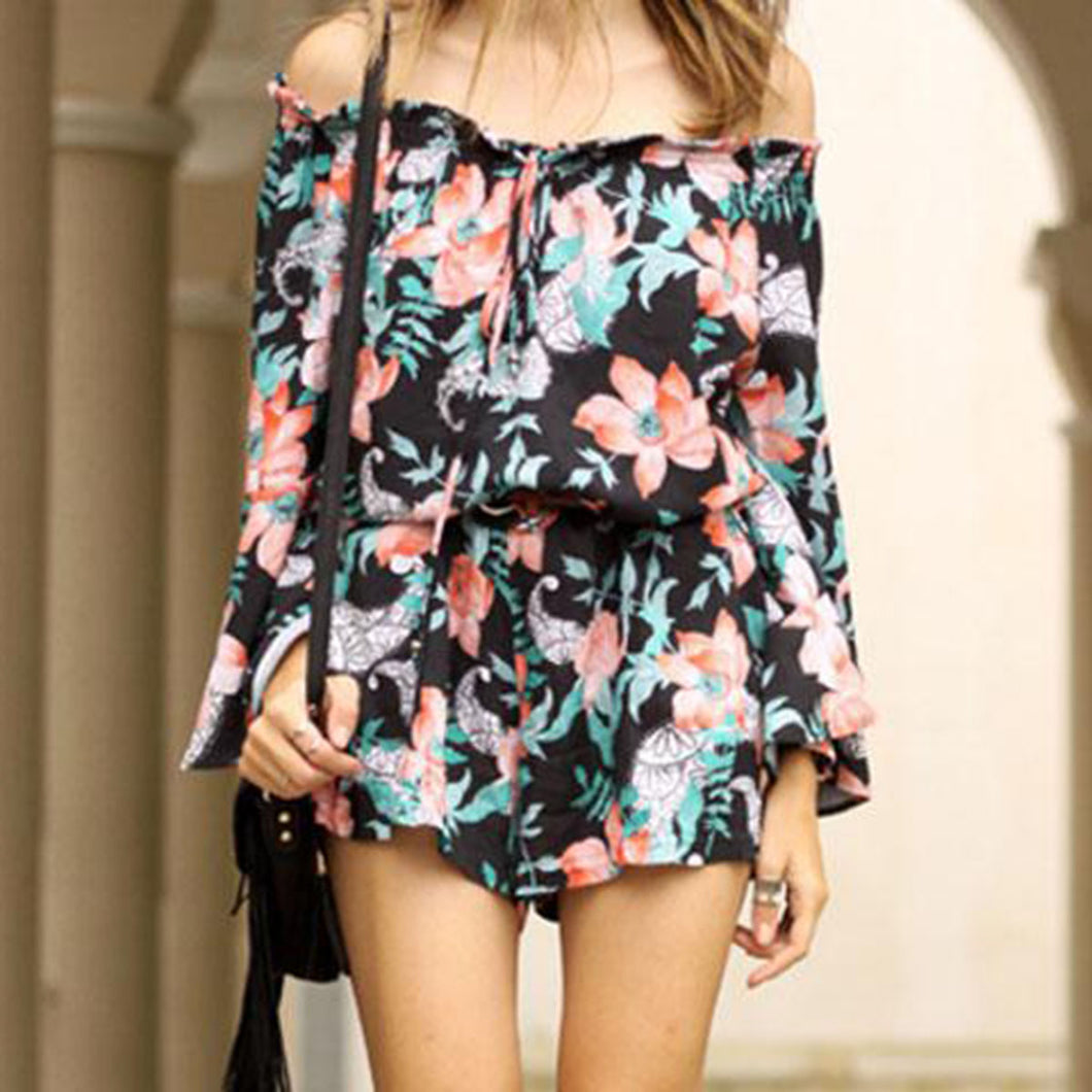 Open Shoulder Spaghetti Strap  Loose Fitting  Bust Darts  Floral Printed  Bell Sleeve  Long Sleeve Playsuits