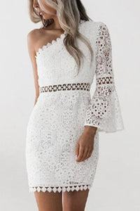 White Lace Oblique Shoulder Sexy Hollow Bodycon Mini Dress