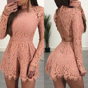 Sexy Elegant Lace-Up Open Back Lace Romper