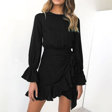 Ruffled Round Neck Long Sleeve Bodycon Dress