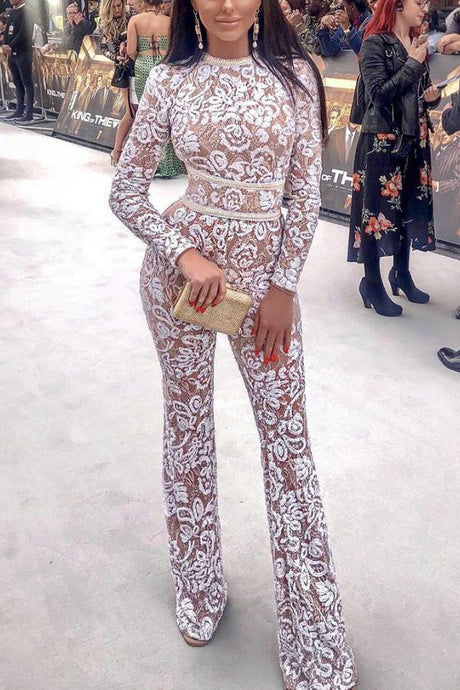 Sexy Fashion White Long Sleeve Jumpsuit