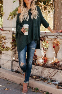 Woman Casual Cold Shoulder Loose Sweater