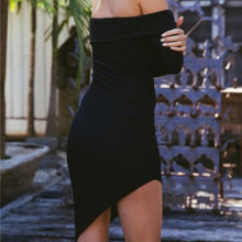 Sexy Off The Shoulder Irregular Hem Bodycon Dress
