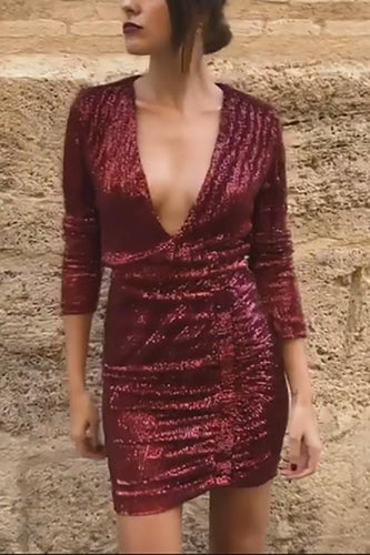 Sexy V Neck Long Sleeves Evening Dress