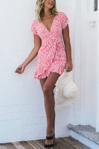 Deep V Neck Asymmetric Hem Print Short Sleeve MIni Dresses