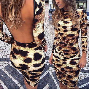 Leopard Backless Slim Sexy Long Sleeve Bodycon Dress