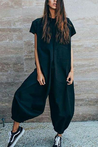 Fasion Casual Loose Solid Color Jumpsuits