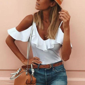 Open Shoulder Spaghetti Strap Flounce  Plain T-Shirt