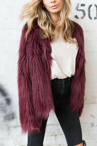 Fashion Faux Fur Square Collar Floating Coat