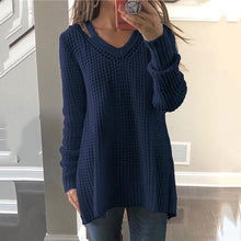 Solid Color V-Neck Long-Sleeved T-Shirt Sweater