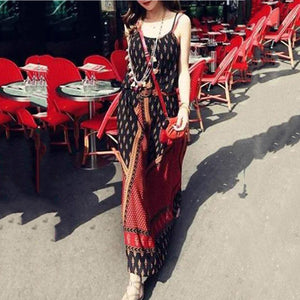 Spaghetti Strap  Backless  Contrast Stitching  Gingham Maxi Dresses
