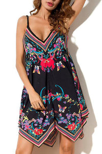 Sexy Floral Print Sleeveless Mini Dresses In Black