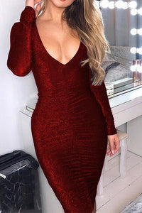 Sexy Long Sleeve Bodycon Club Midi Dress