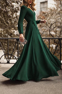 Fashion Green Long Sleeve Maxi Evening Dress