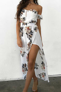 Sexy Off Shoulder Floral Print Maxi Dress In White