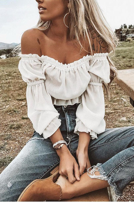 Sexy Chiffon Long Sleeves T-Shirts Blouses
