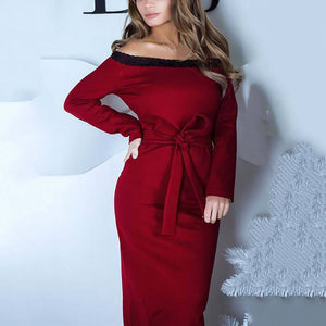 Fashion Casual One-Shoulder Lace Dress