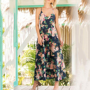 Sexy Elegant Sleeveless Floral Print Maxi Dress