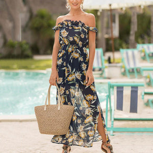 Sexy Elegant Off Shoulder Floral Print Maxi Dress