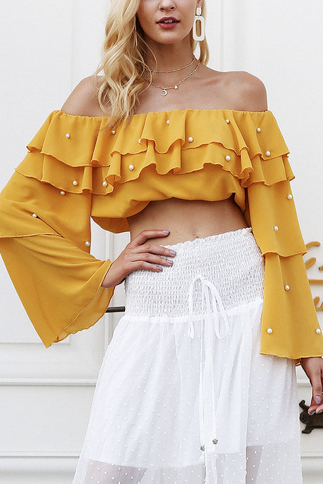 Long Sleeves Off Shoulder Blouse Tops