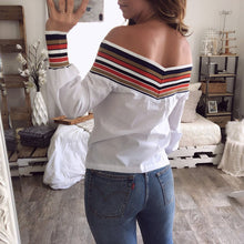 Fashion Off-The-Shoulder Print Knit Stitching Shirt