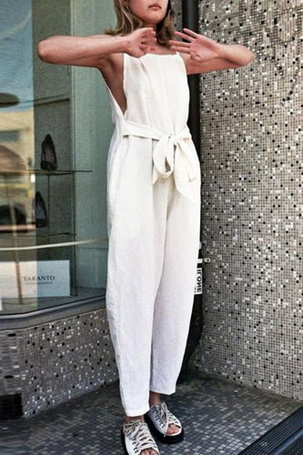 Fashion White Sleeveless Pockets Vintage Jumpsuits