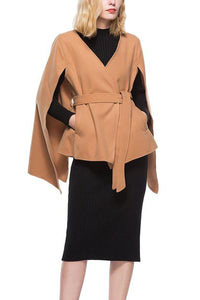 Fashion Casual Solid Color Bandage Cloak Outerwear