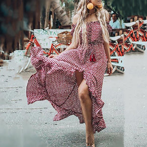 Off-The-Shoulder Bohemian Printed Beach Vacation Dress