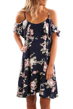 Sexy Off Shoulder Floral Print Short Sleeves Mini Dress