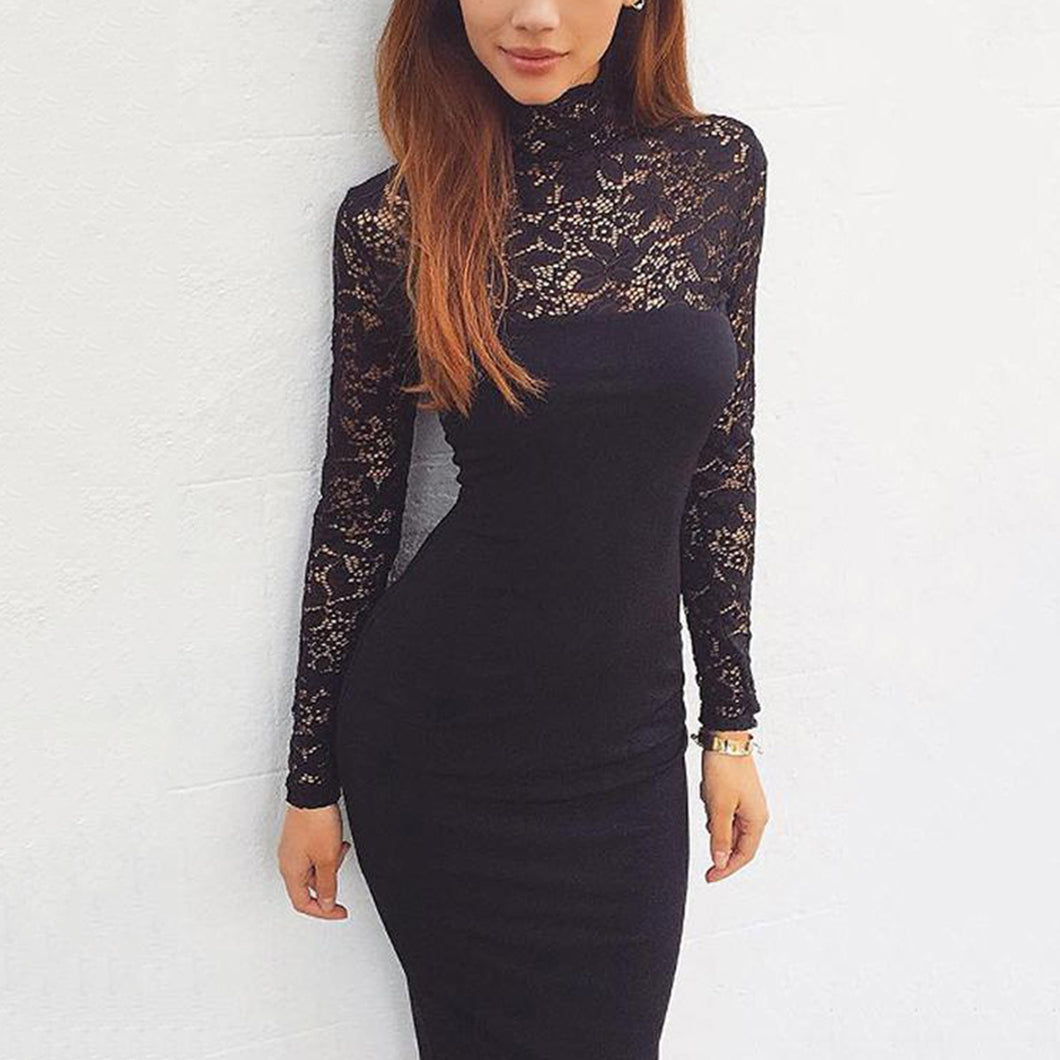 Long Sleeves Lace Bodycon Midi Dress In Black