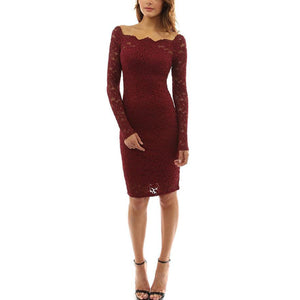 Open Shoulder  Plain  Long Sleeve Bodycon Dresses