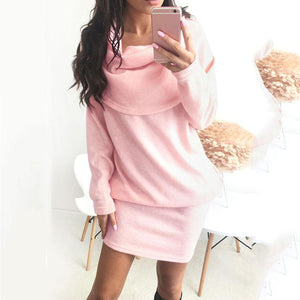 Patchwork  Plain  Batwing Sleeve Bodycon Dresses