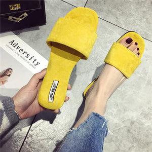 Fashion Pure Color Suede Flat Sandals