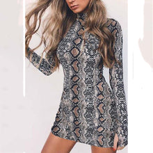 High Neck  Animal Printed  Long Sleeve Bodycon Dresses