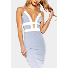 Spaghetti Strap  Contrast Trim  Hollow Out  Sleeveless Bodycon Dresses