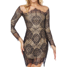 Sexy Round Neck See-Through Lace Mini Bodycon Dress