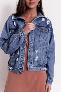 Fashion Blue Denim Old Worn Out Short Coat Outerwear