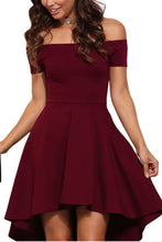 Elegant Pure Color Off Shoulder Mini Dress