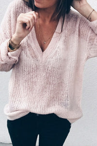 Sexy Deep V-Neck Knit Sweater